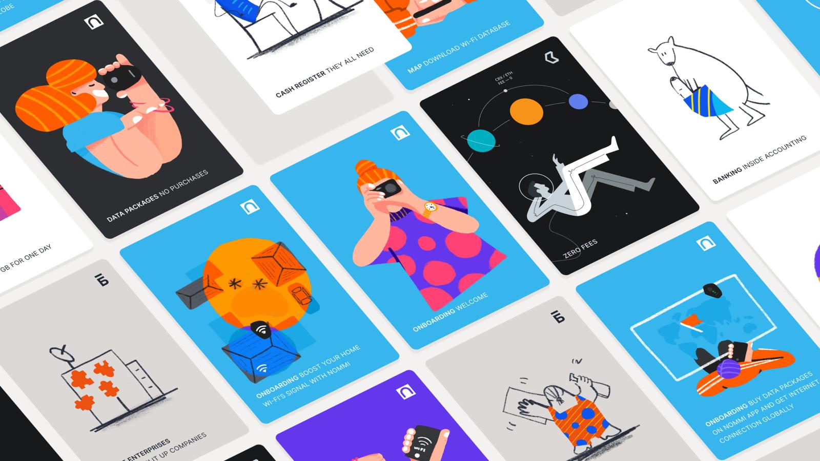 Una serie de ilustraciones para UI por Aldiyar Aidash