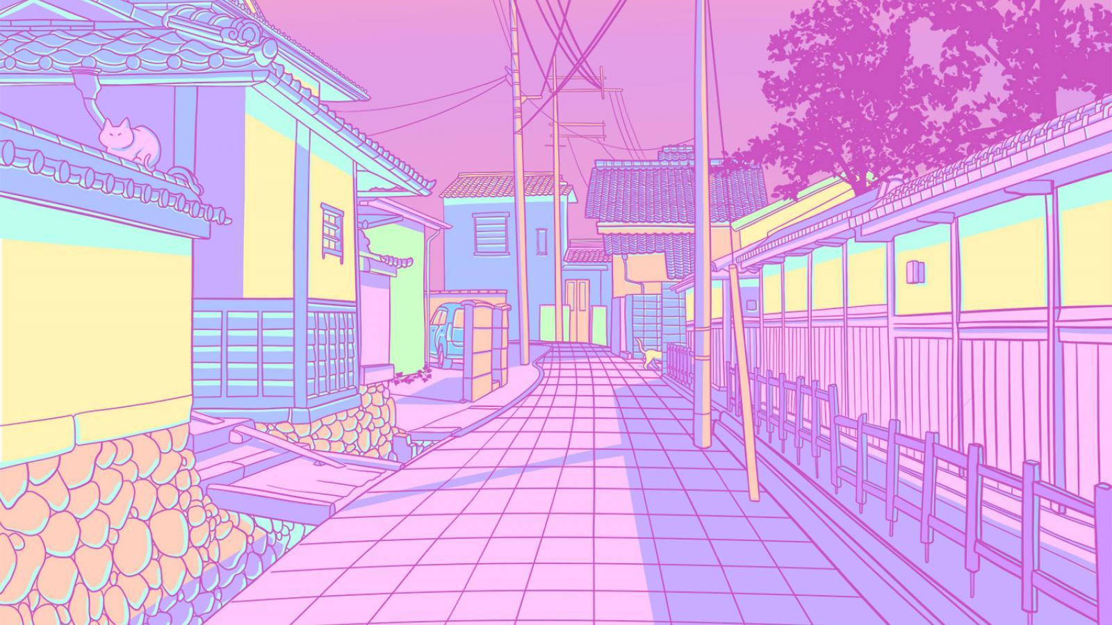 Pastel Japón, gatos y callejones Ilustraciones
