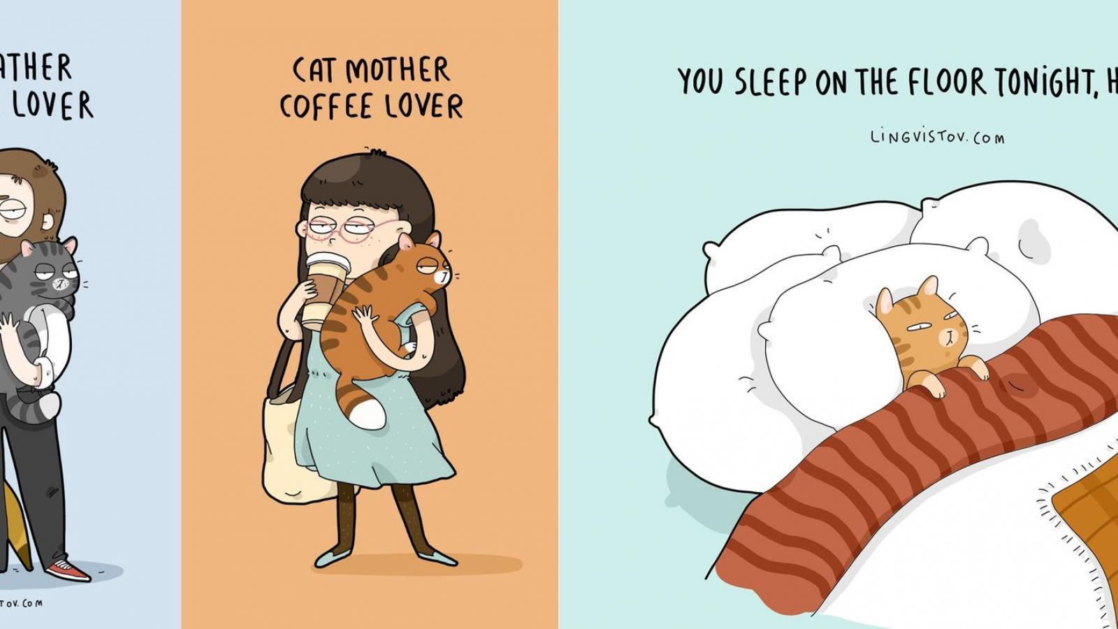 Amantes del gato Rejoice: estas ilustraciones de Lingvistov hará que su día