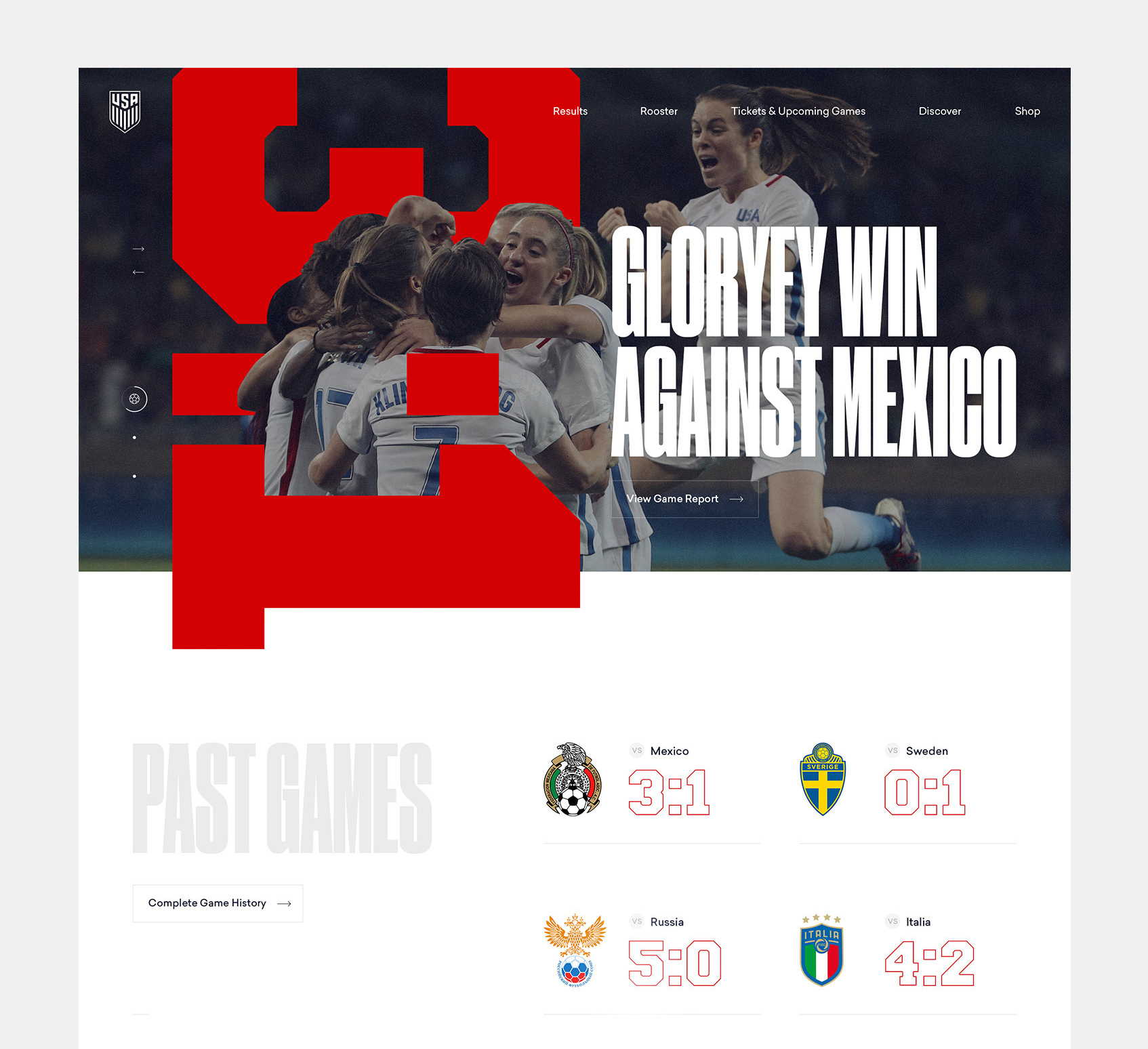 U.S. Women's National Soccer Team Web Design Concept