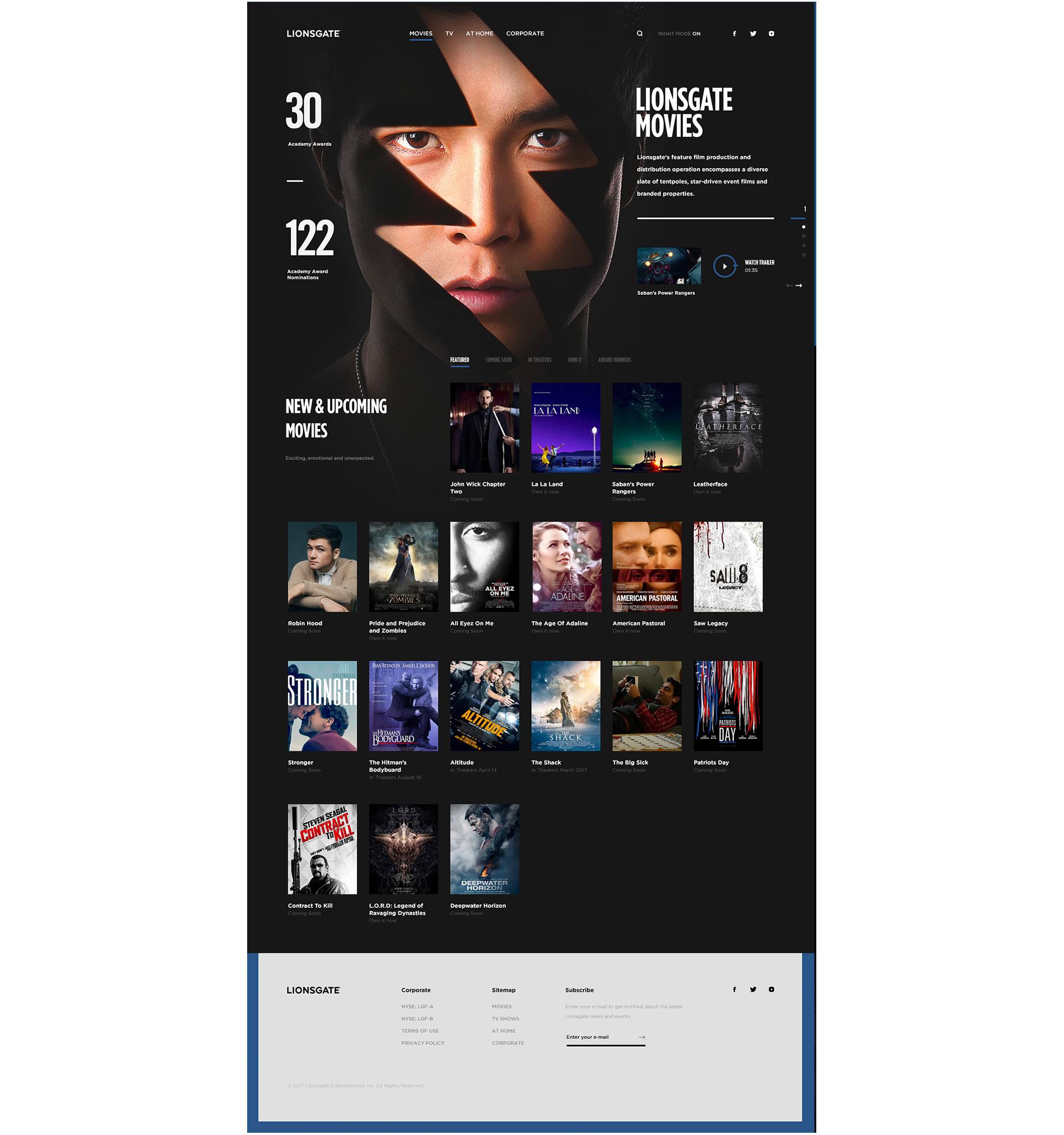 Web Design & UI/UX: Lionsgate Pitch Concept