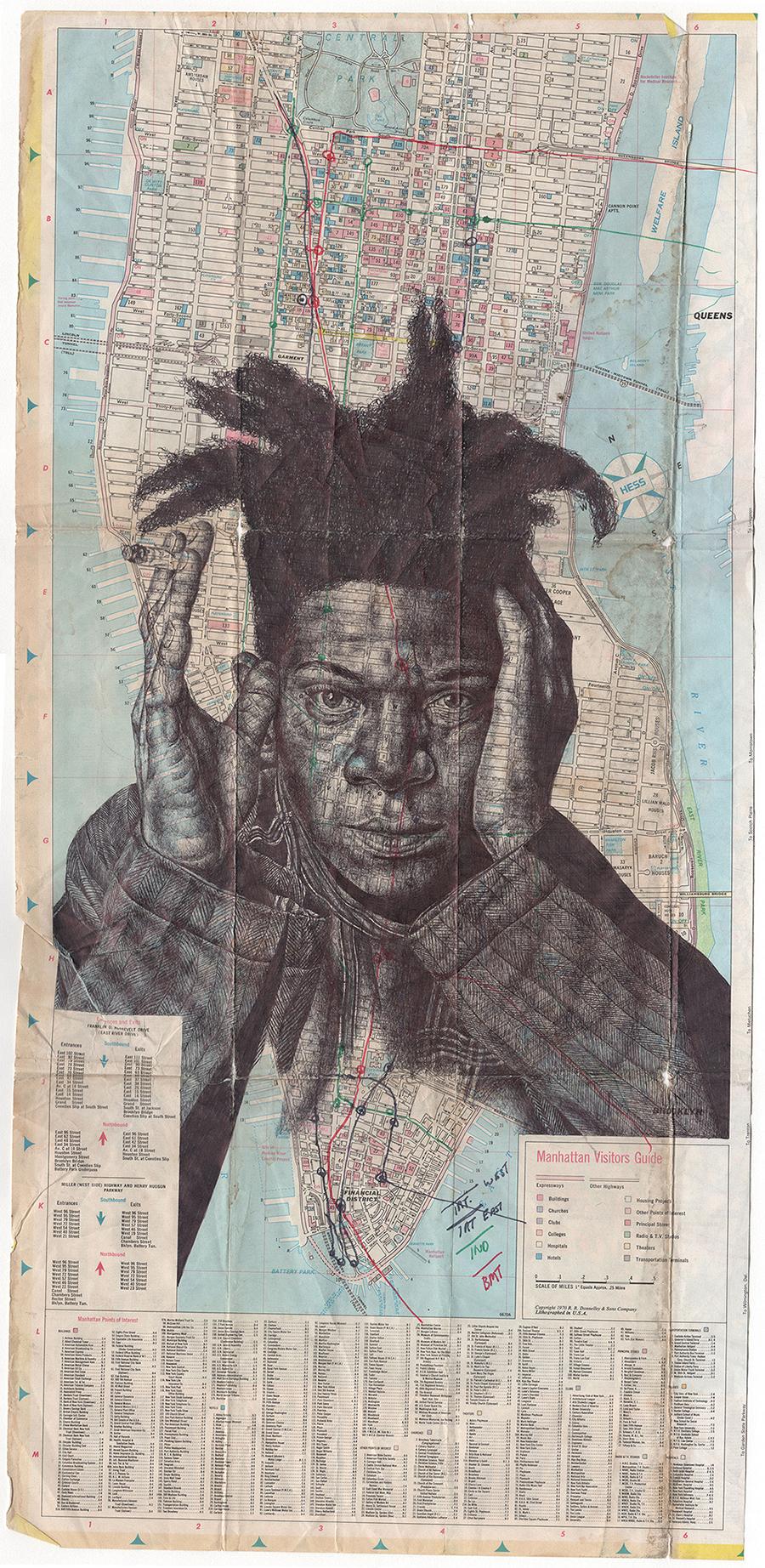 Illustration: Bic Biro Drawings on Antique Maps