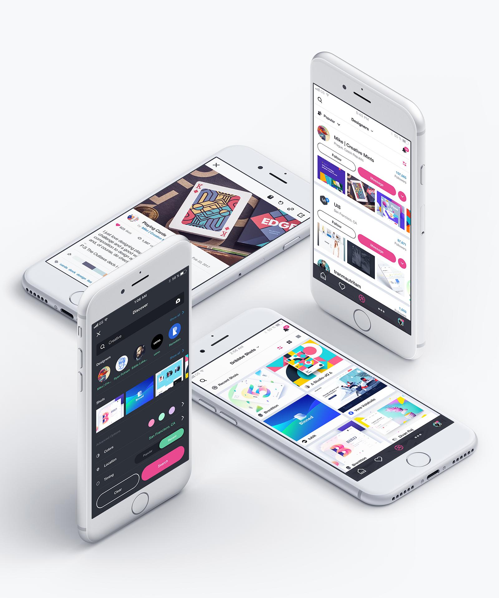 Interaction Design & iOS Design: Dribbble Redesign Concept