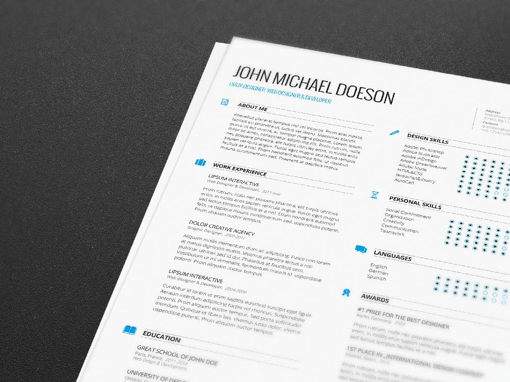 free resume templates - Adobe Indesign Resume Template