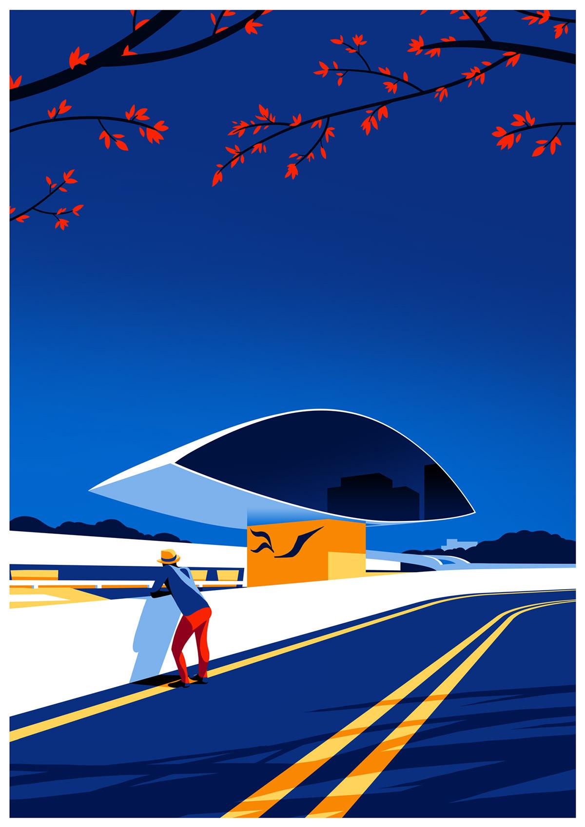 Illustration Celebrating Modernist Architecture of Oscar Niemeyer
