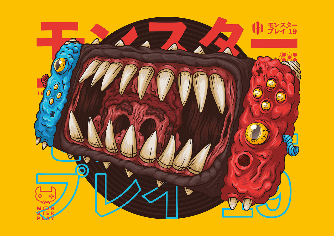 Gamepads turned into Monsters Illustrations