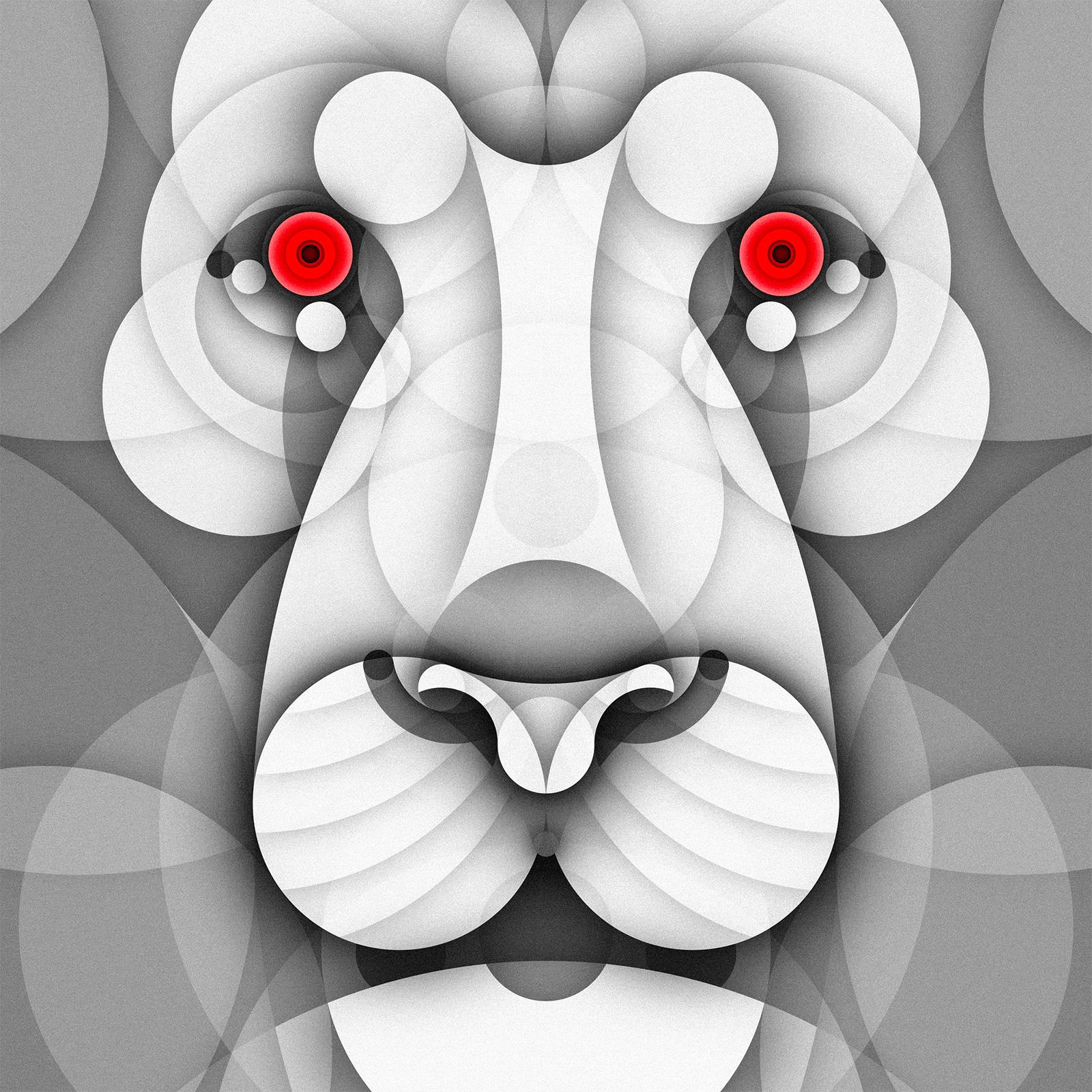 Albino Animals Series of Illustration Using Just Circles