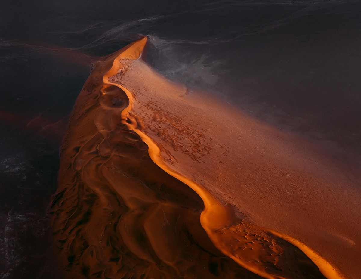 Wandering the fiery mountains of sand dunes in the Namib Desert