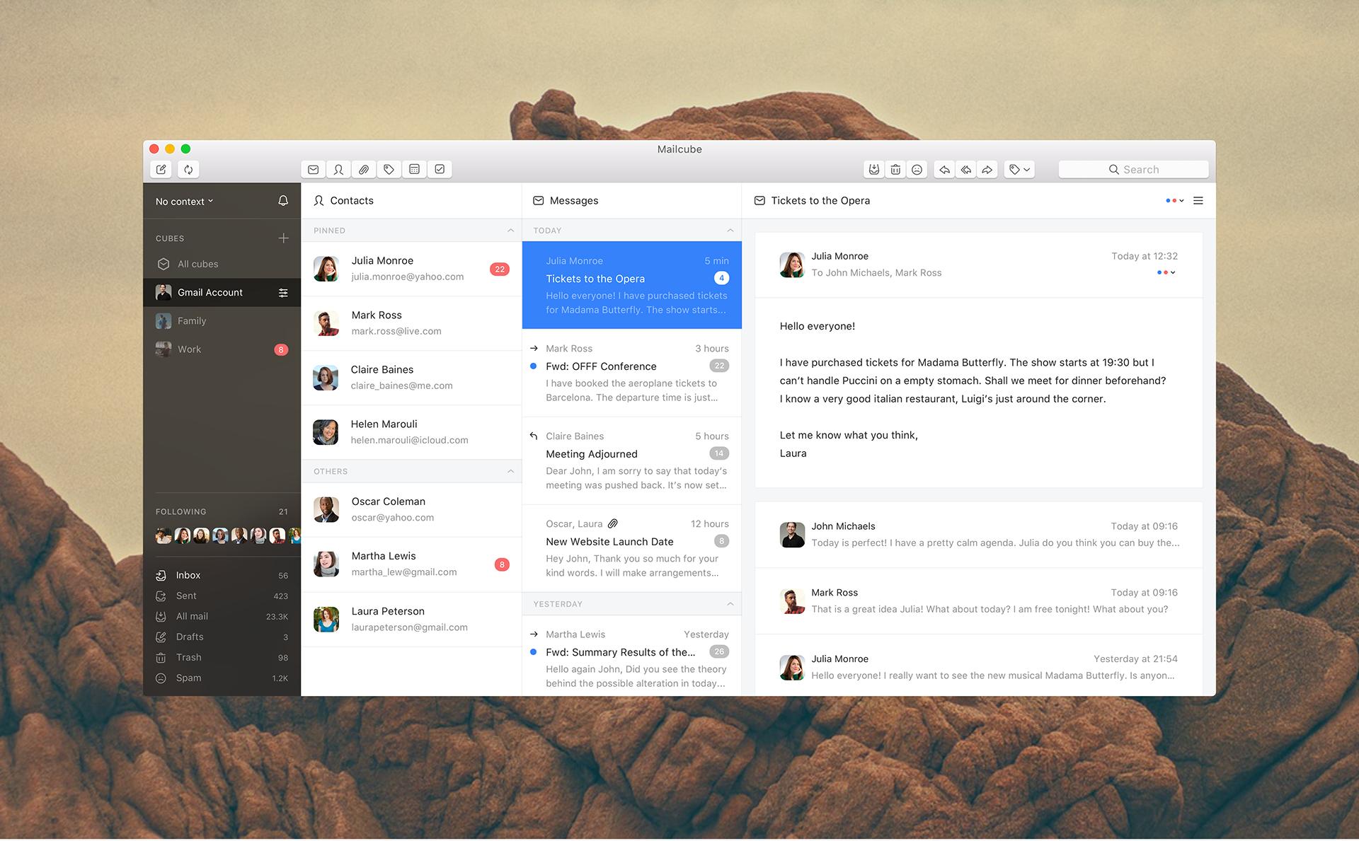 Interaction Design & UI/UX of Mailcube MacOS App