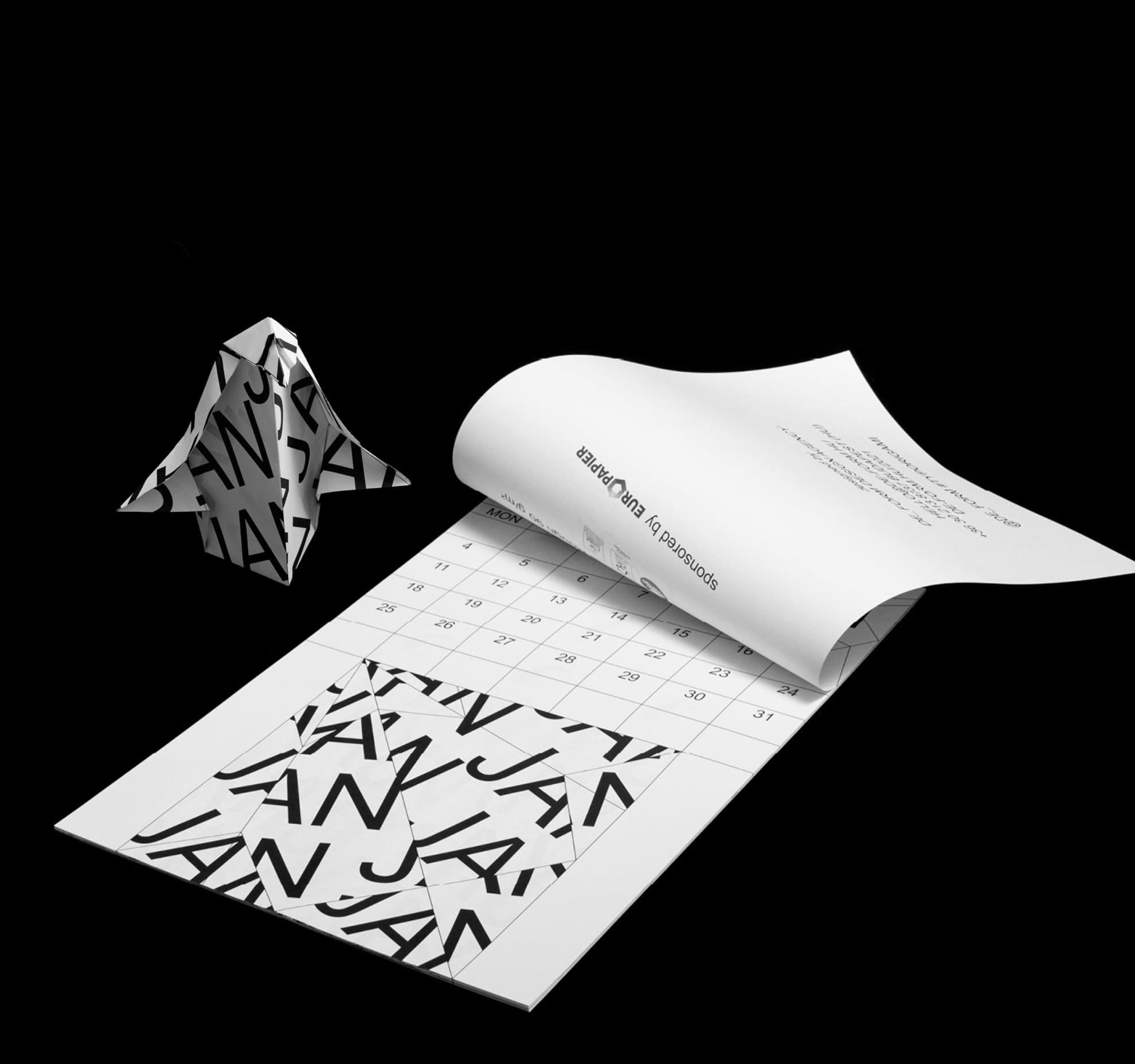 Typorigami Calendar 2021 by De-form.hu