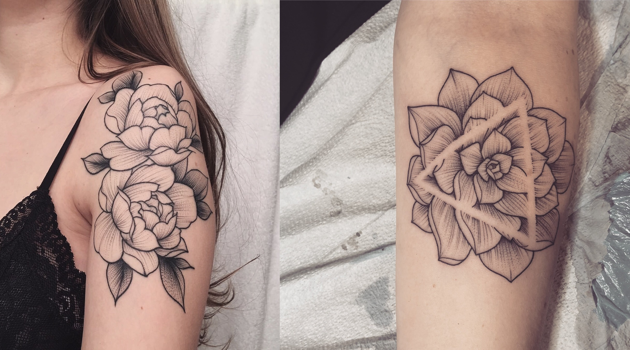 Floral Tattoos: Exquisite Black and Grey work by Vanessa Dong