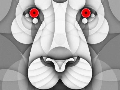 Albino Animals Series of Illustrations Using Just Circles