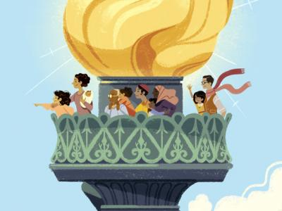 Illustration Process: I Lift My Lamp Beside the Golden Door