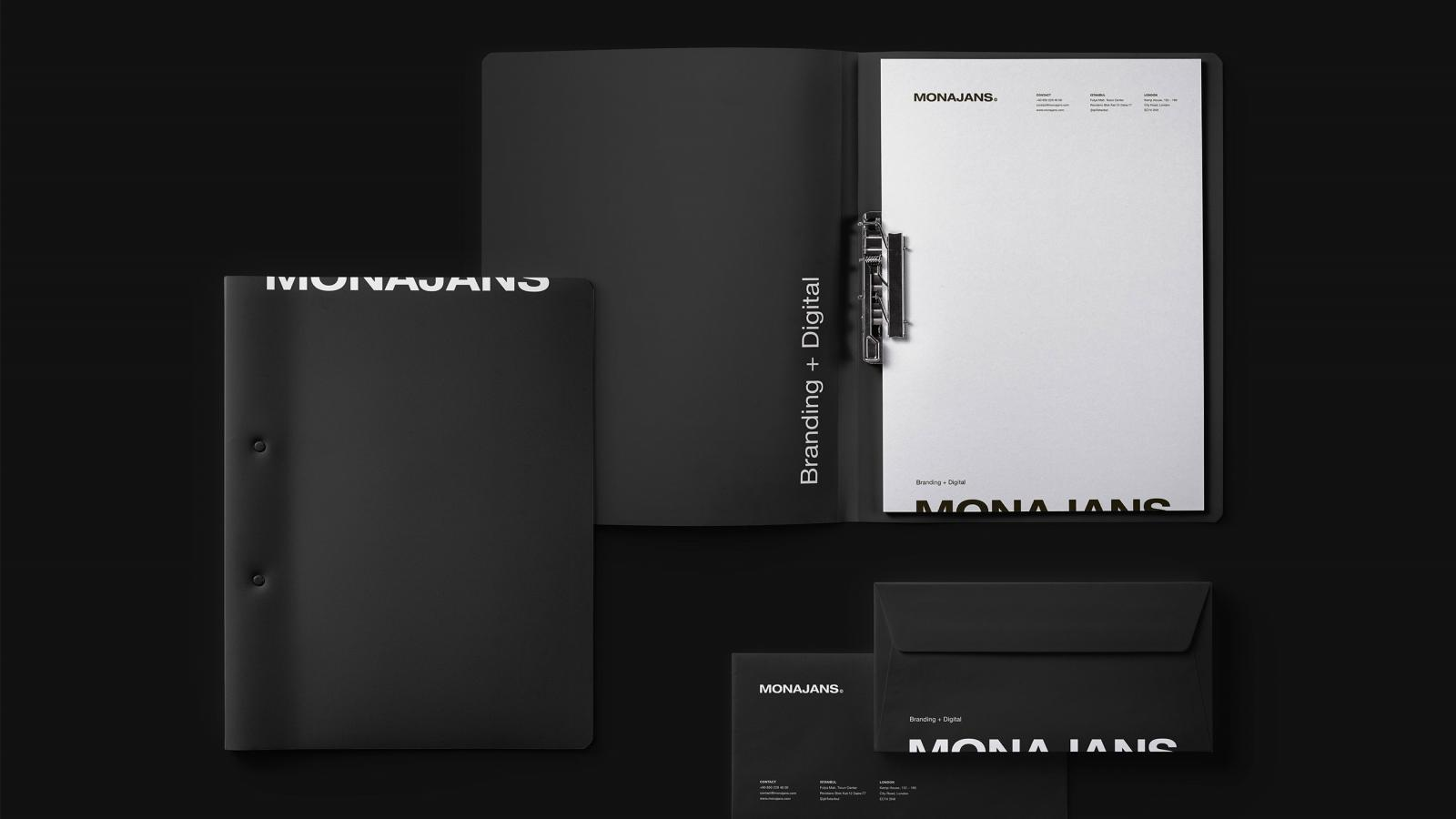 Elegant Brand Identity for MONAJANS branding and digital agency