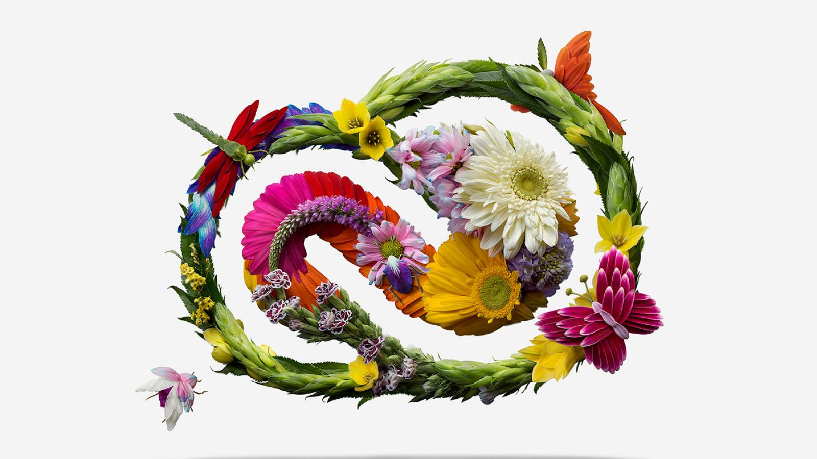 Artist Raku Inoue recreates the Adobe CC logo with beautiful flowers