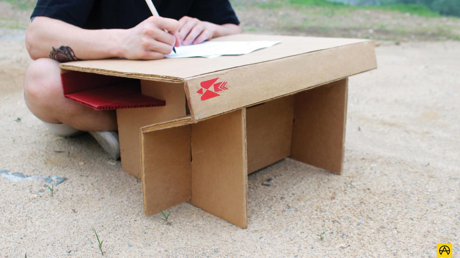 Industrial Design: Foldable Desk made of Cardboard Paper