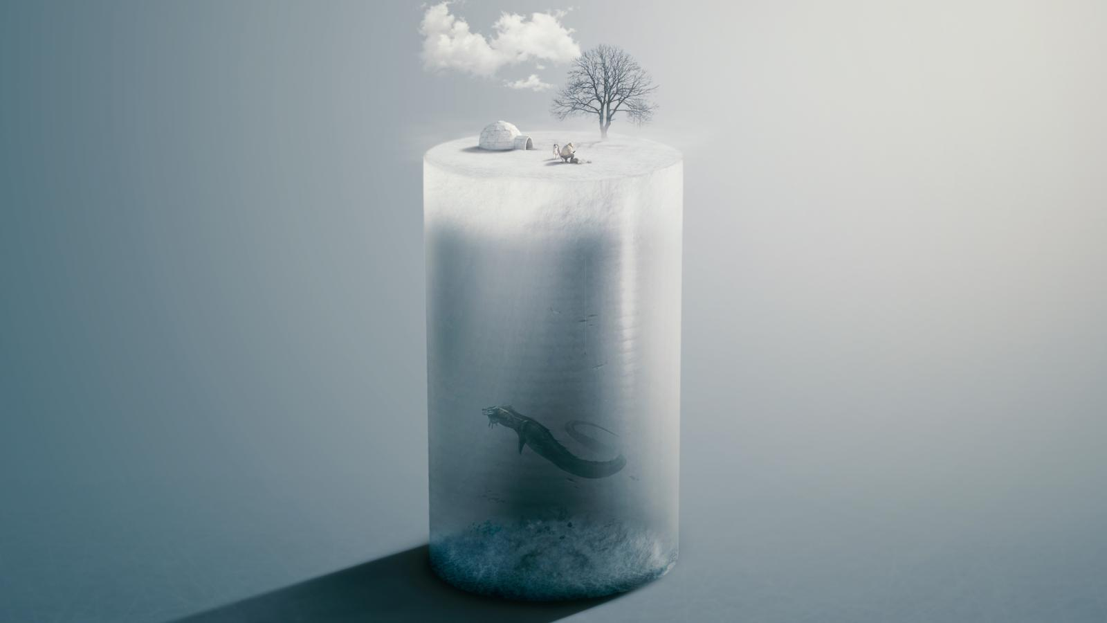Deep Ice Fishing Photo Manipulation