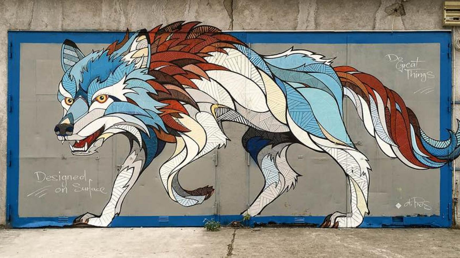 Wolf Mural by Andreas Preis