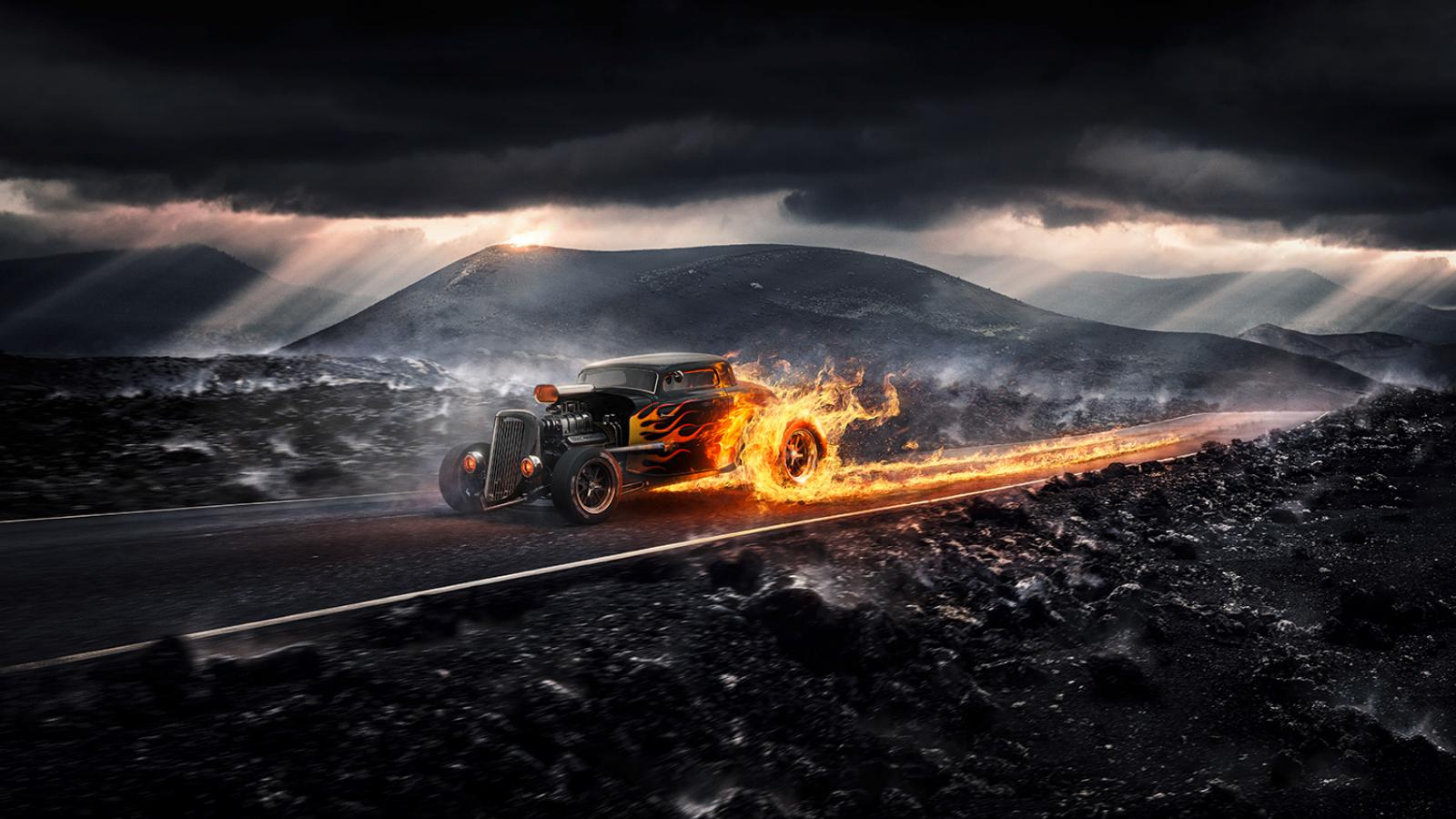 Digital Art in Photoshop: Drive it like its hot!
