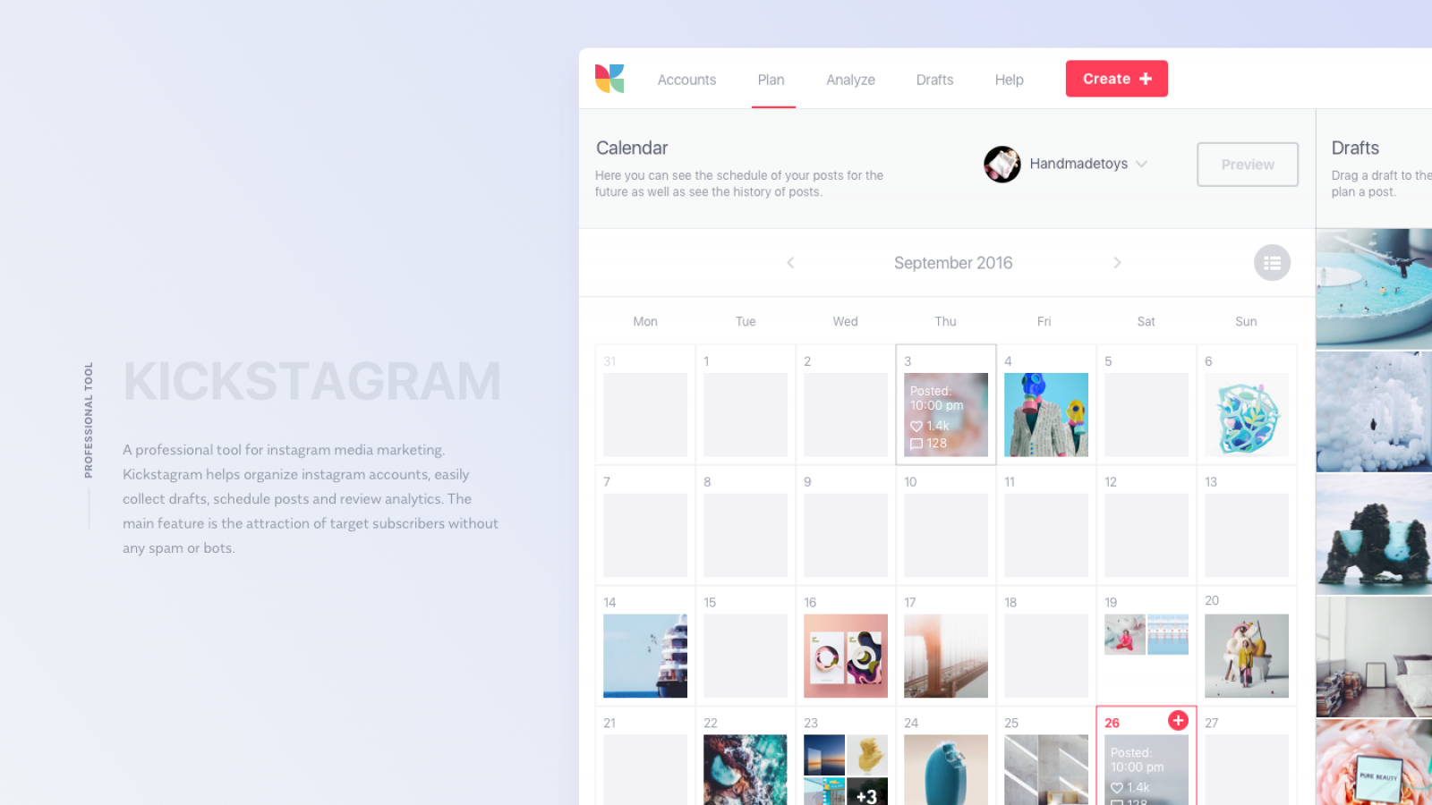Interaction Design & UI/UX: Kickstagram, an Instagram Marketing Tool