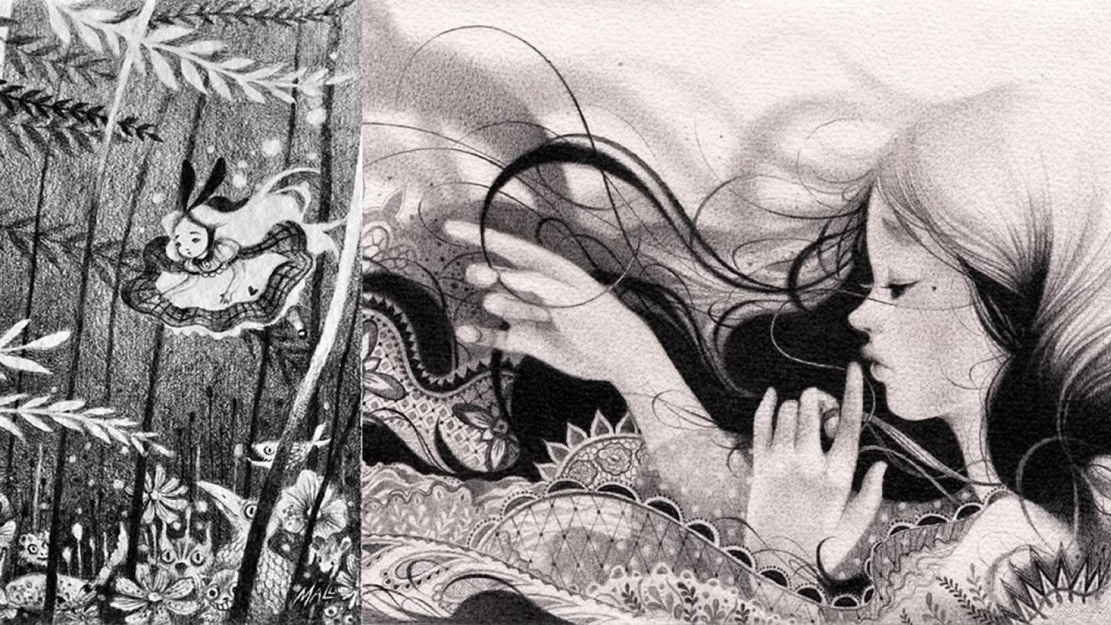 Black white pencil illustrations by mall licudine