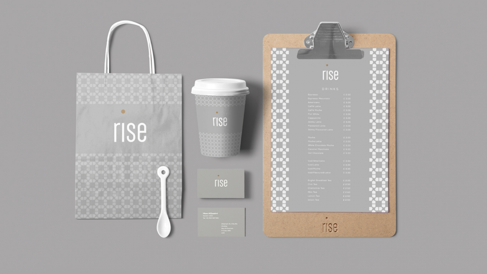 Brand Identity for Dubai Coffee Shop Rise