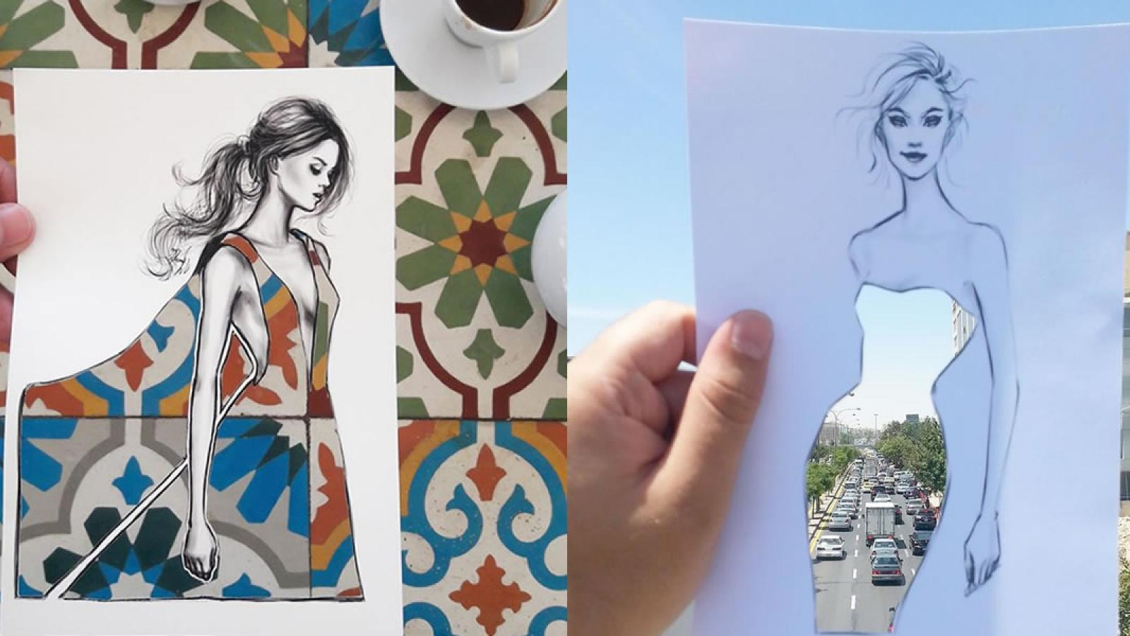 Beautifully Illustrated Cut-Out Dresses gain life with Creative Backgrounds