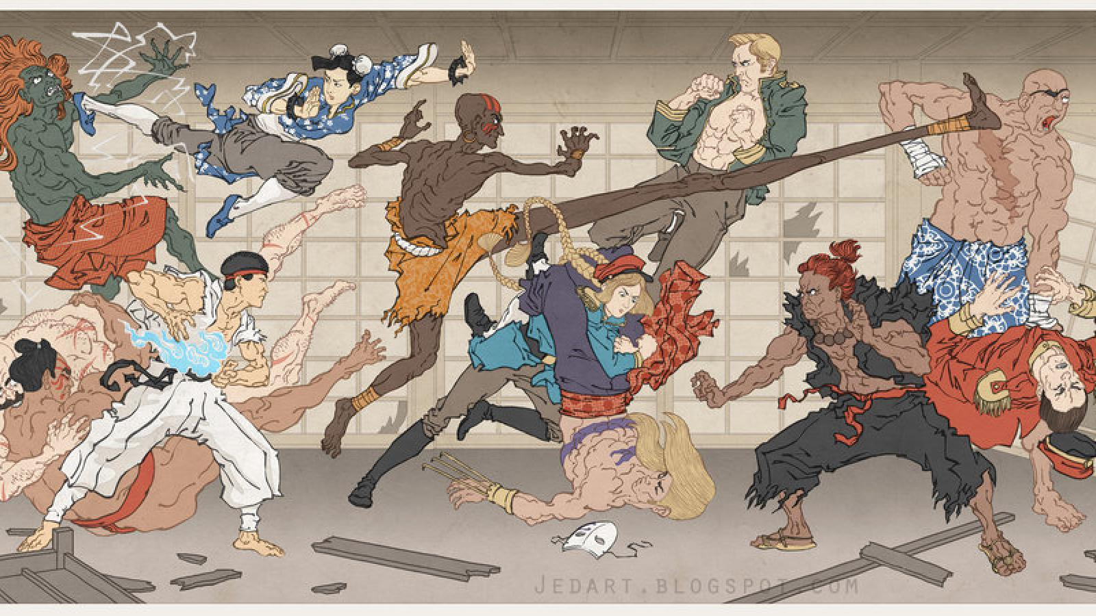 Pop Culture Ukiyo-e Heroes by Jed Henry