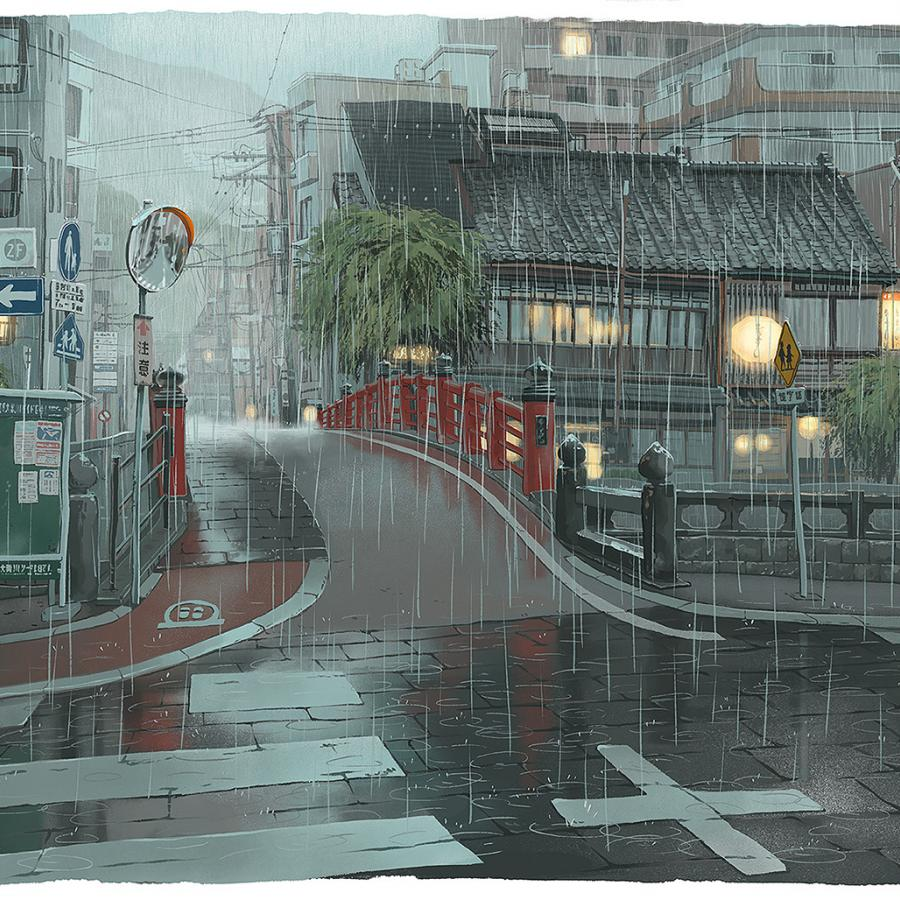 Paintings of Street Scenes from Japan