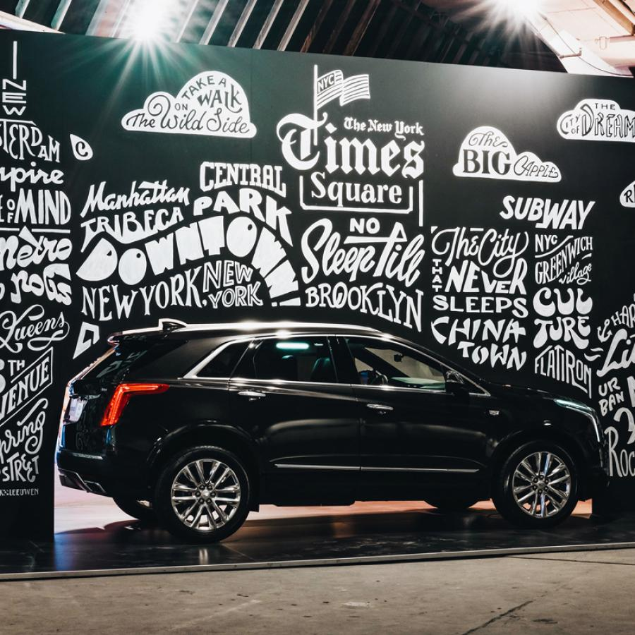 Cadillac Mural & Typographic Illustration by Mark van Leeuwen