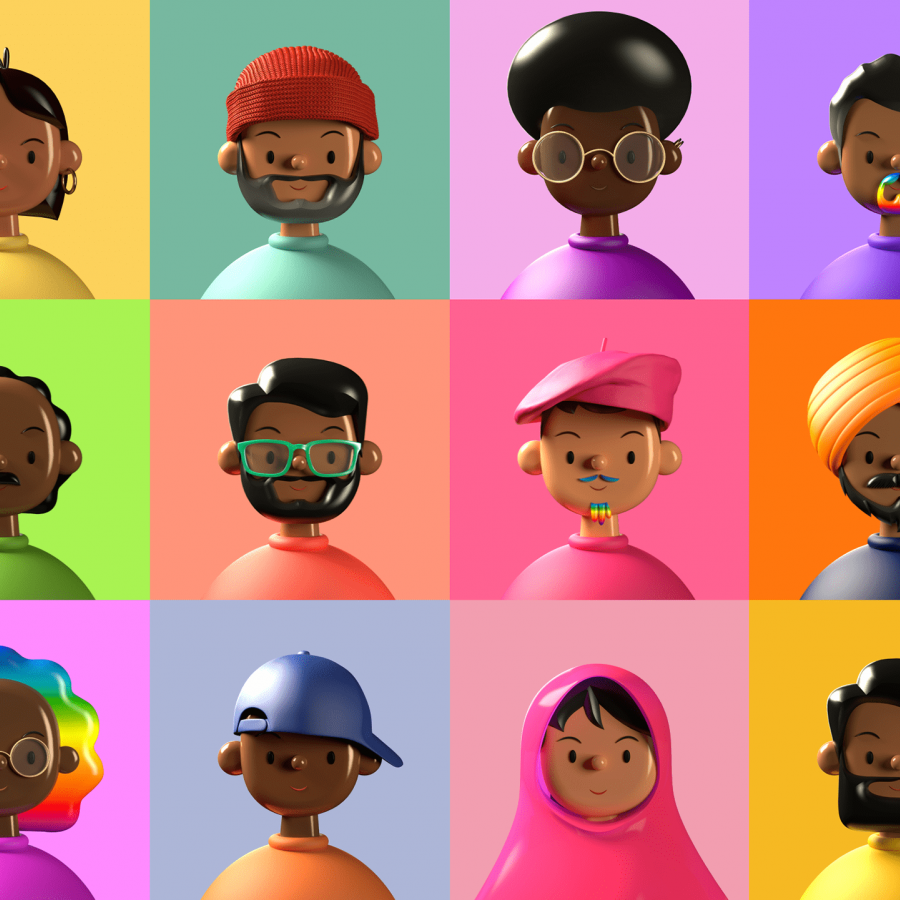 A diverse library of 3D avatars to inspire your creativity