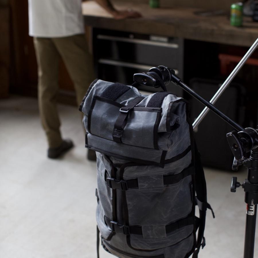 Mission Workshop introducing the Rhake WX, a Waxed Canvas Laptop Backpack