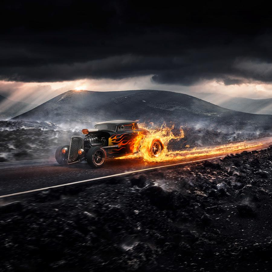 Digital Art in Photoshop: Drive it like its hot!