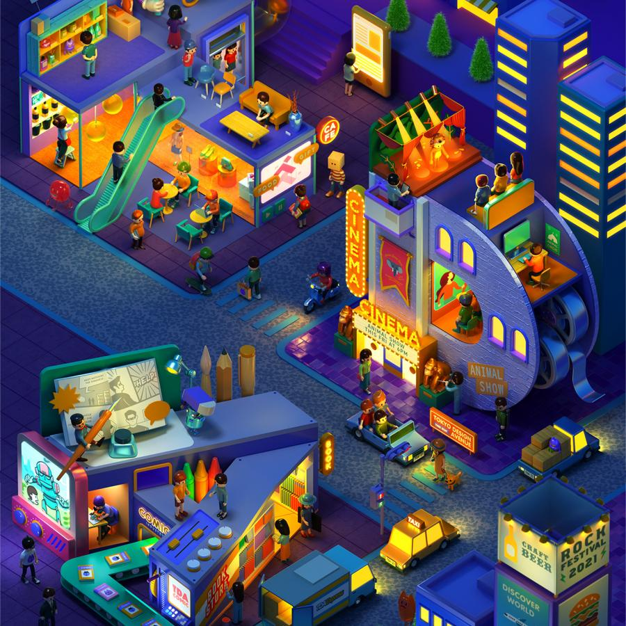 Colorful 3D Illustrations for Tokyo Design Academy School