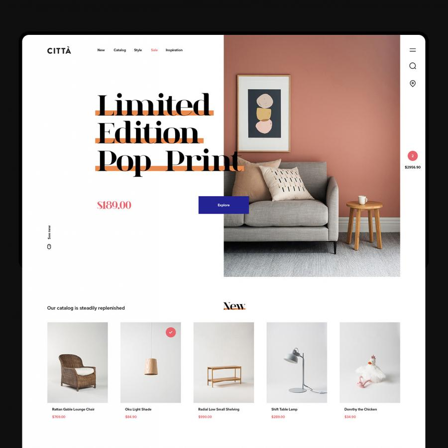 Web Design: Cittá - a furniture website concept