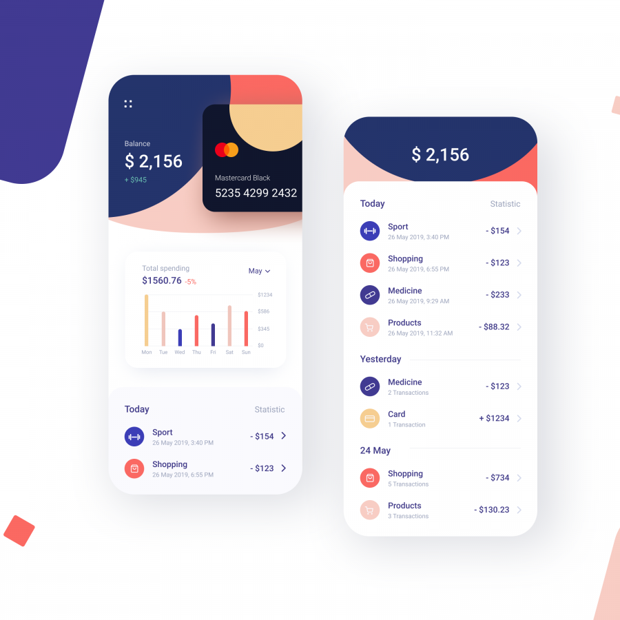Banking App Design Inspiration: A Roundup by Vadim Drut, Brave Wings and more