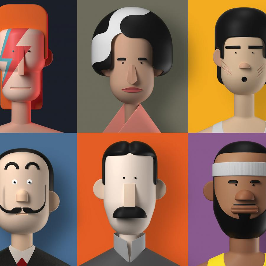 Big Names & Small Trivia in 3D Illustrations
