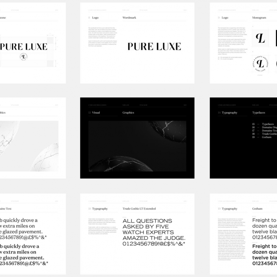Branding and Visual Identity for Pure Luxe Magazine