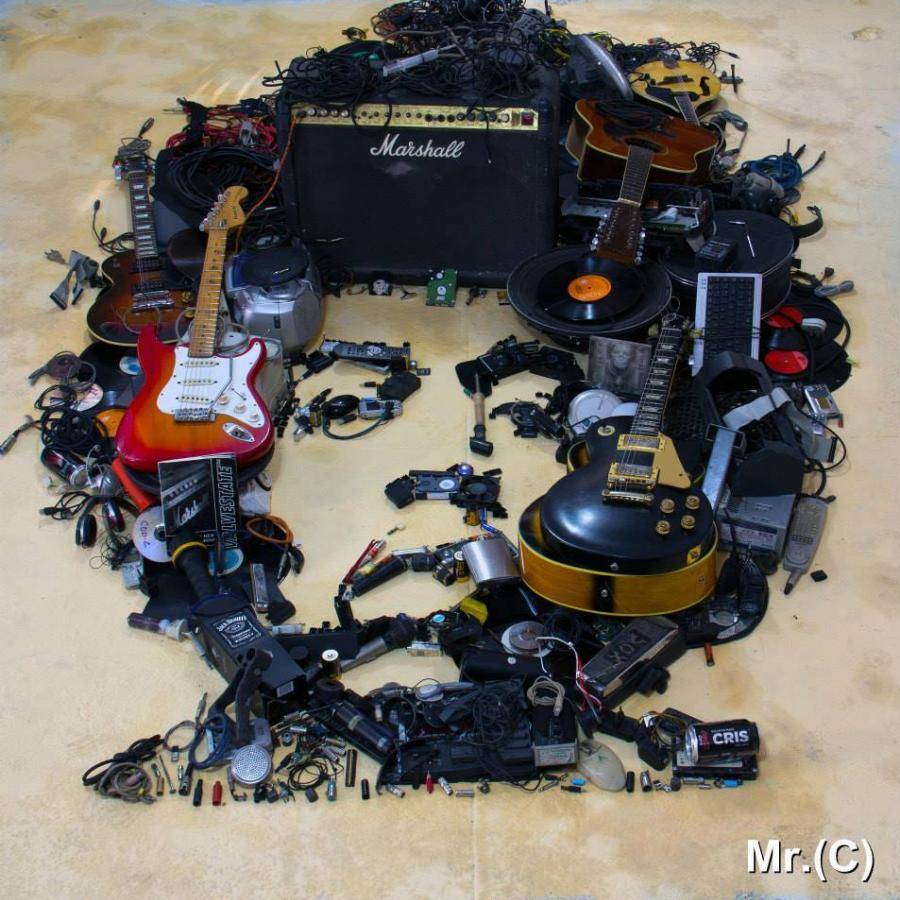 Celebrity Portraits Made With Waste and Instruments by Mister C