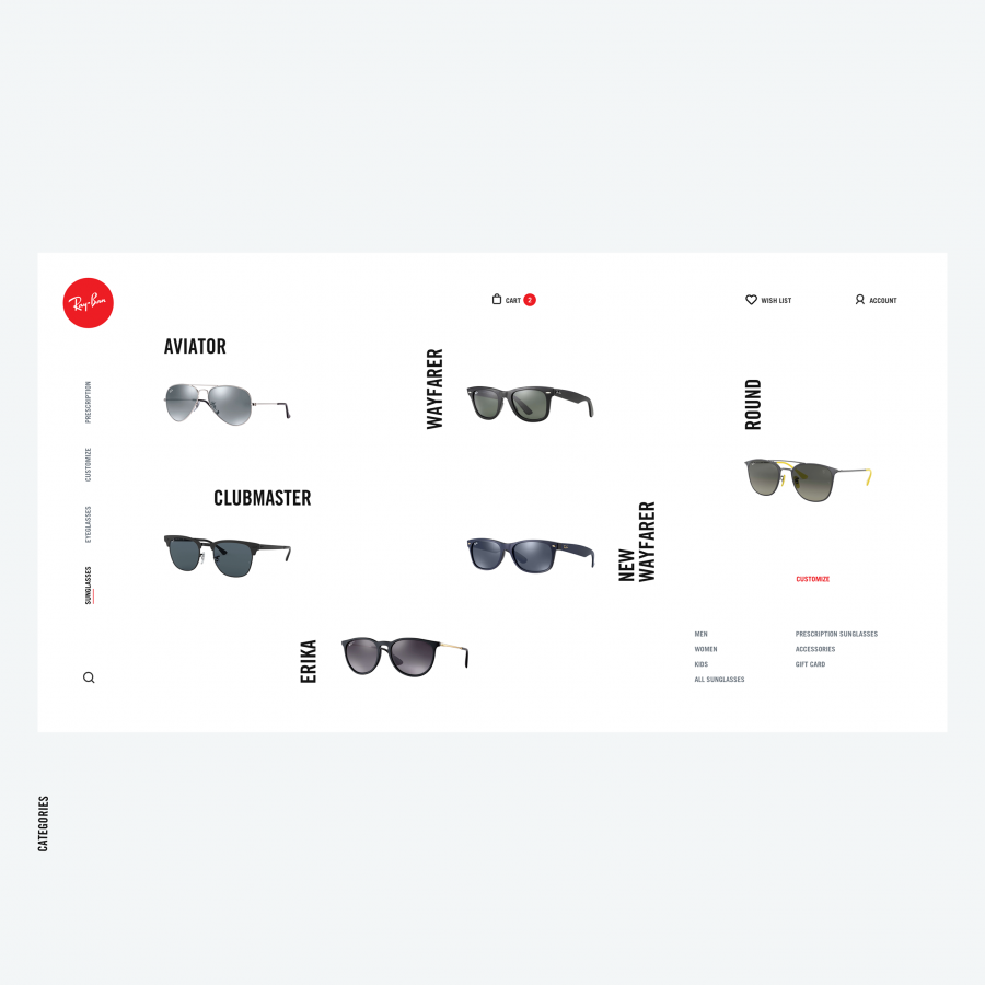 Beautiful Web Design Concept for Ray-Ban