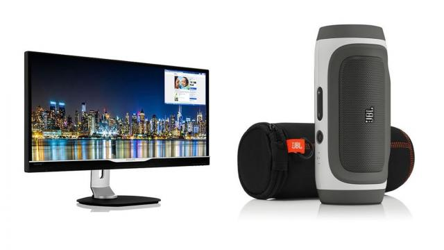The Perfect Office - Bamboo Calculator, JBL Bluetooth Speaker, Philips 29 monitor and more
