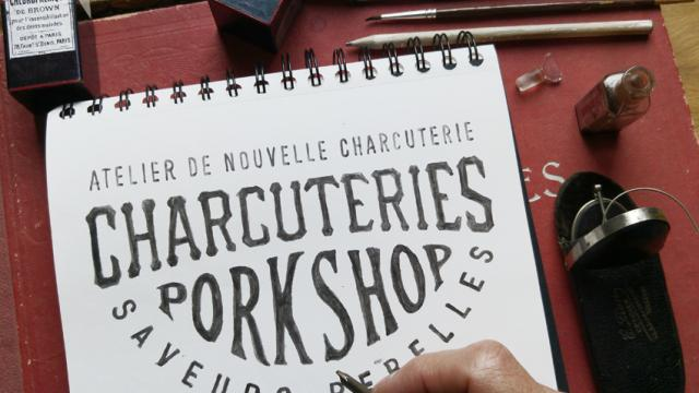 Hand lettering for Les Charcuteries Porkshop