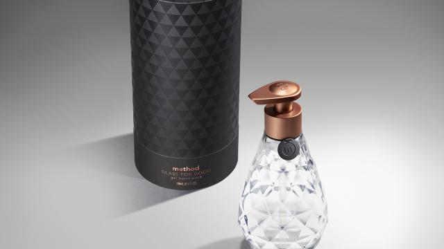 Packaging Design Love: method + SFMOMA's 'Glass for Good' Limited-Edition Faceted Glass Bottle