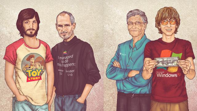 Jobs, Gates and Al Pacino on Me & My Other Me Series of Illustrations